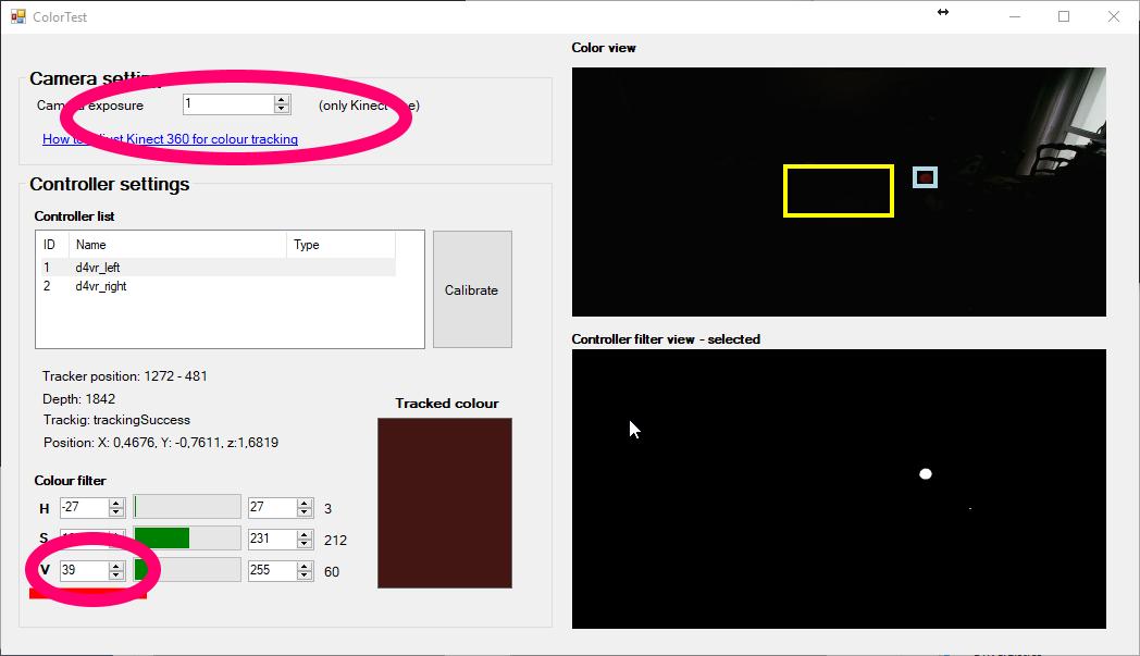 Driver4VR colour calibrating dark colour