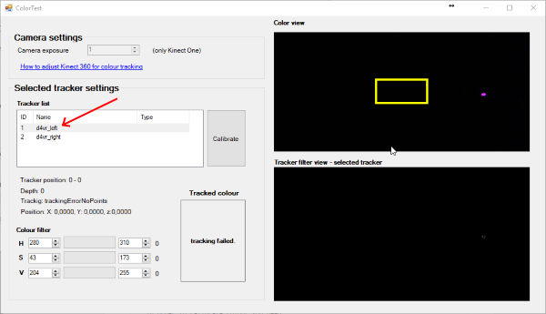 Driver4VR - colour calibration - select controller from the list