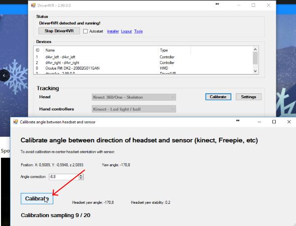 Headset vs Kinect calibration